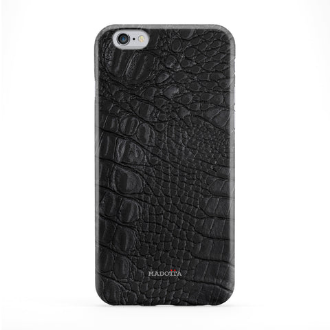 Black Crocodile Leather Full Wrap Protective Phone Case by UltraCases