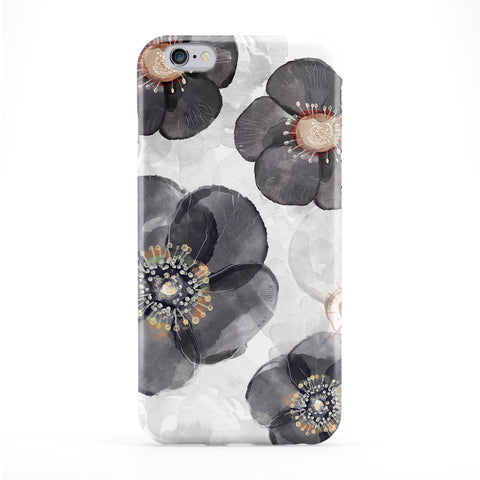 Watercolour Black Flowers Full Wrap Protective Phone Case by UltraCases