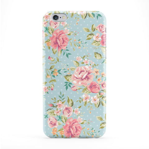Vintage Roses on Teal Polka Dots Full Wrap Protective Phone Case by UltraCases