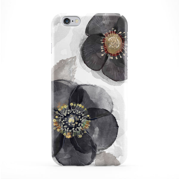 Black Watercolour Flowers Phone Case by UltraCases