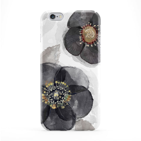 Black Watercolour Flowers Full Wrap Protective Phone Case by UltraCases