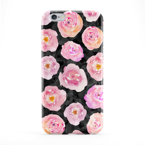 Abstract Pink Roses on Black Full Wrap Protective Phone Case by UltraCases