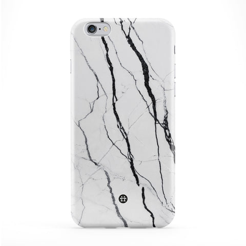 White Marble with Black Lines Full Wrap Protective Phone Case by UltraCases