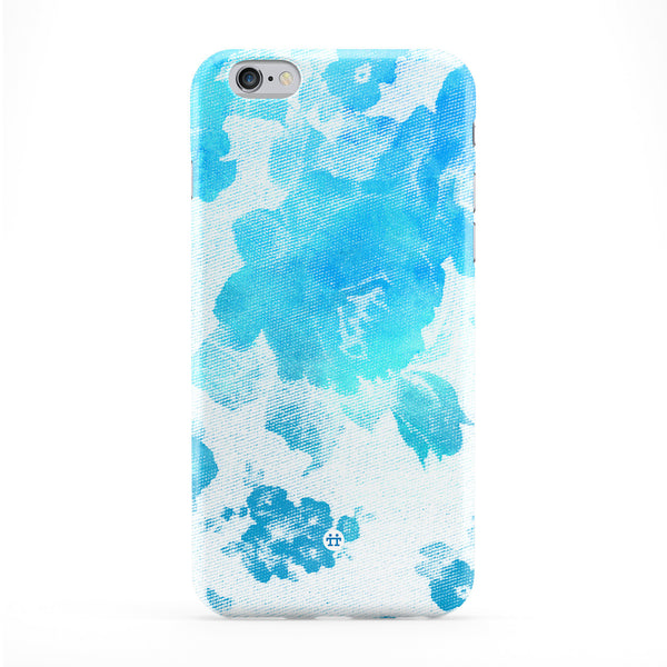 Blue Halftone Vintage Roses Full Wrap Protective Phone Case by UltraCases