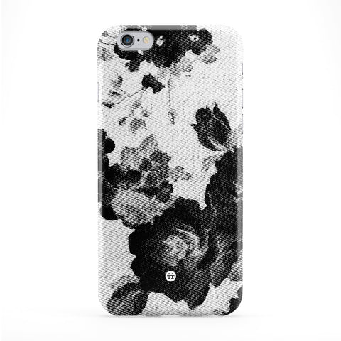 Black Halftone Vintage Roses Full Wrap Protective Phone Case by UltraCases
