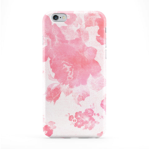 Baby Pink Halftone Vintage Roses Full Wrap Protective Phone Case by UltraCases
