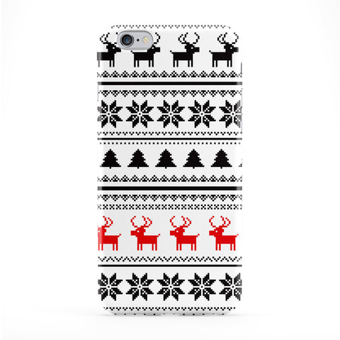 Ugly Sweater Christmas Pattern Black and White and Red Full Wrap Protective Phone Case by UltraCases