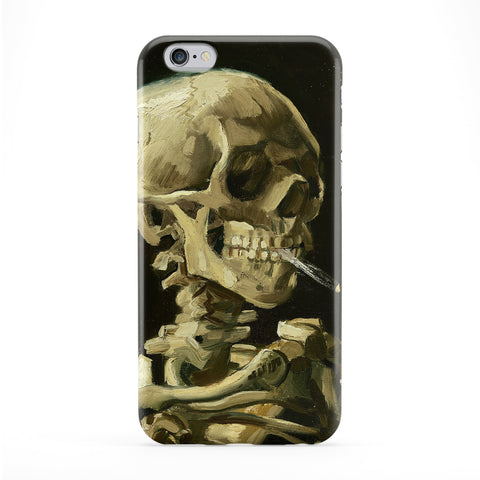 Head of a skeleton with a burning cigarette by Van Gogh Full Wrap Protective Phone Case by Painting Masterpieces