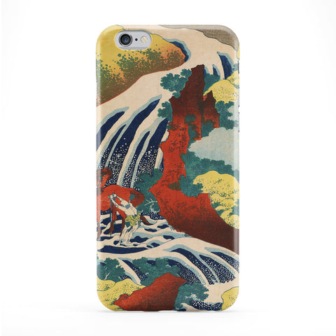 Yoshitsune Falls by Katsushika Hokusai Full Wrap Protective Phone Case by Painting Masterpieces