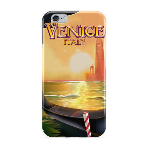 Venice Travel Poster Full Wrap Protective Phone Case by Nick Greenaway