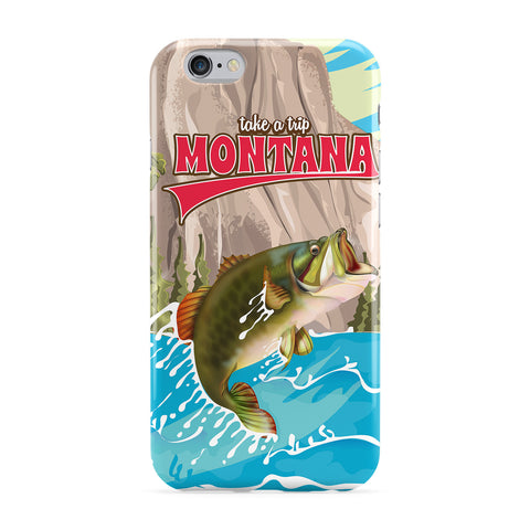 Montana Fishing Travel Poster Phone Case by Nick Greenaway