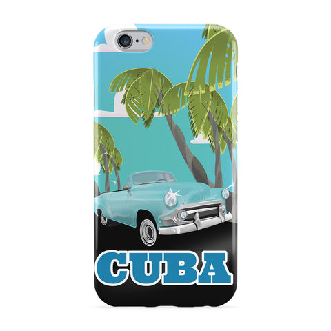 Cuba Vintage Car Travel Poster Full Wrap Protective Phone Case by Nick Greenaway