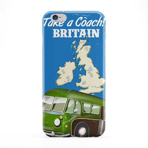 Vintage British Holiday coach poster Full Wrap Protective Phone Case by Nick Greenaway
