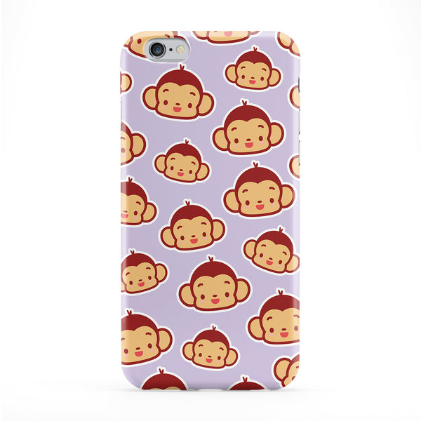 Kawaii Monkey Pattern Full Wrap Protective Phone Case by Tom Pearson