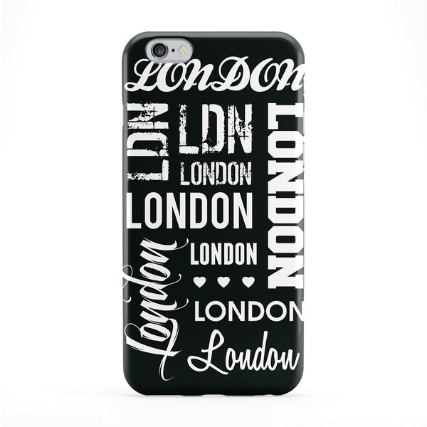 London Typography Black Full Wrap Protective Phone Case by textGuy