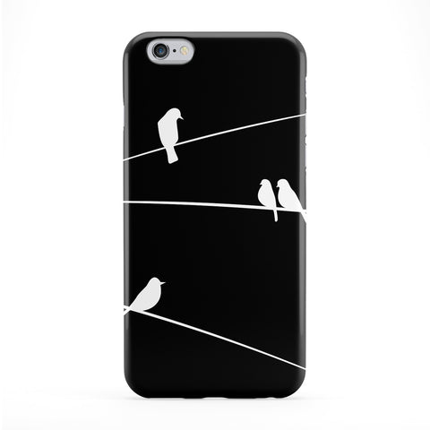 White Birds on Wires on Black Sky Full Wrap Protective Phone Case by UltraCases