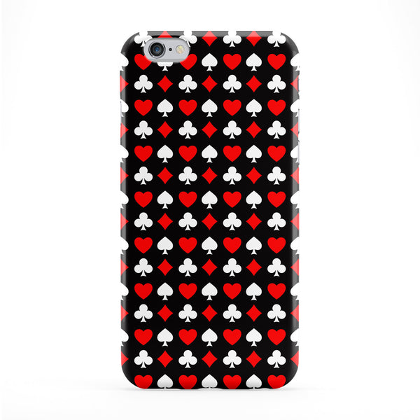 Black Poker Playing Cards Pattern with Spades Hearts Diamonds Clubs Full Wrap Protective Phone Case by UltraCases