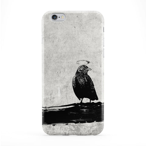 Black Grunge Crow Bird on Light Gray Phone Case by UltraCases