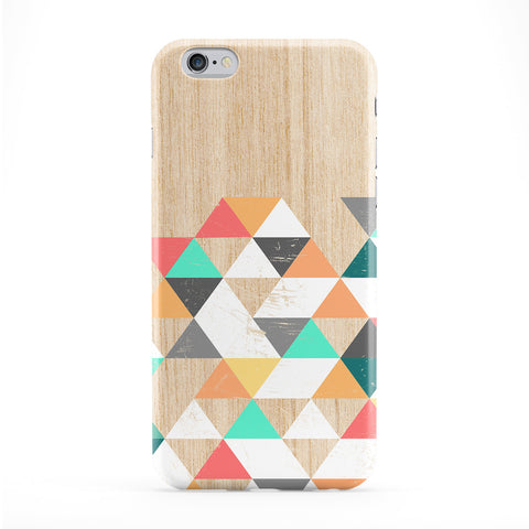 Geometric Colorful Triangles on Wood Grain Texture Full Wrap Protective Phone Case by UltraCases