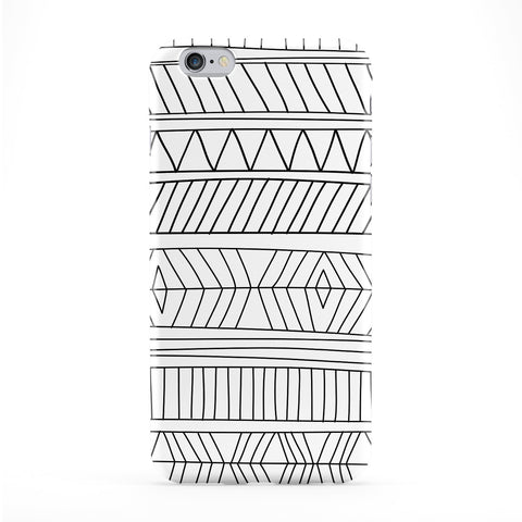 Hand Drawn Tribal Aztec Black and White Pattern Full Wrap Protective Phone Case by UltraCases