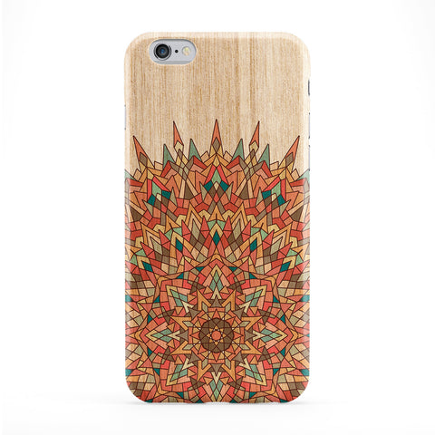 Colourful Maldala Geometric Pattern on Wood Grain Texture Full Wrap Protective Phone Case by UltraCases
