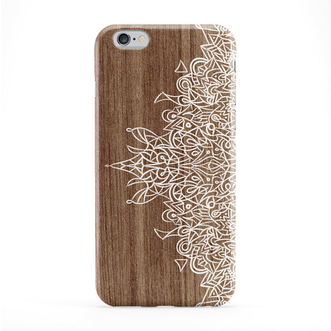White Hand Drawn Mandala Pattern on Wood Grain Texture Full Wrap Protective Phone Case by UltraCases