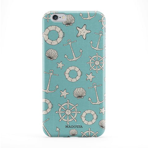 Anchors and Sea Objets Pattern Full Wrap Protective Phone Case by UltraCases