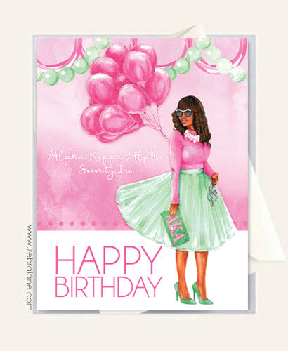 AKA Birthday Soror With Balloons Card