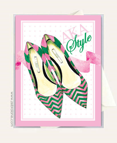 AKA Style Chevron Shoes Cards