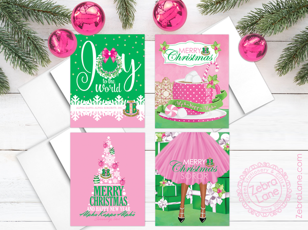 Alpha Kappa Alpha Christmas Cards Assorted Box of 20 - PREORDER - SHIPS 12/11/19