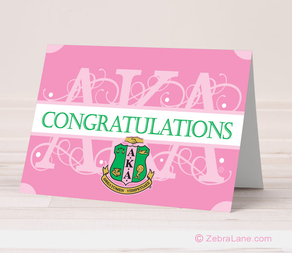 AKA Congratulations Card – Pink