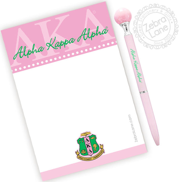 AKA Greek Letter Note Pad and Ink Pen Set