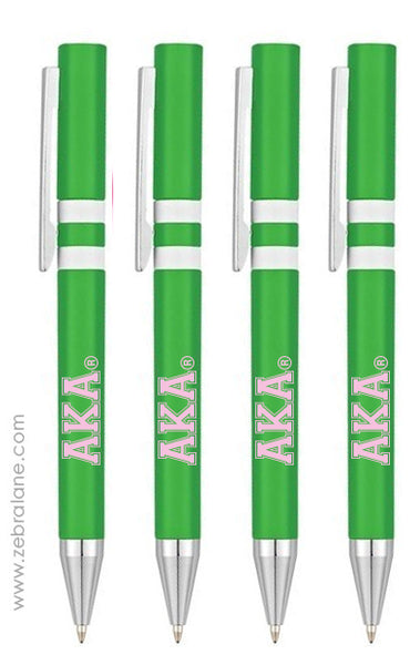 AKA Green Striped Ink Pens - Set of 4