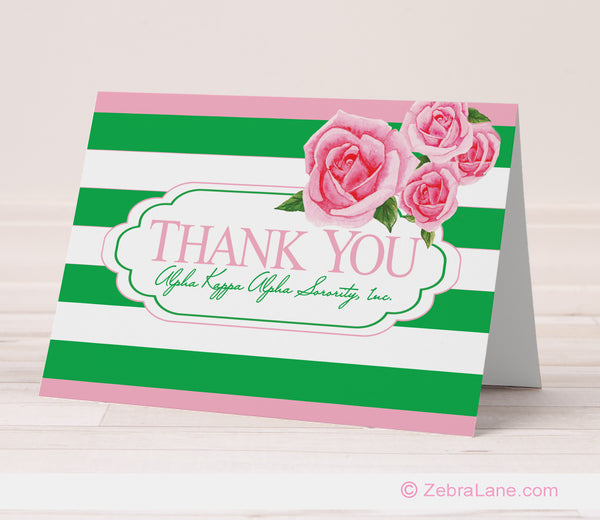 Alpha Kappa Alpha Thank You Card with Green Stripes