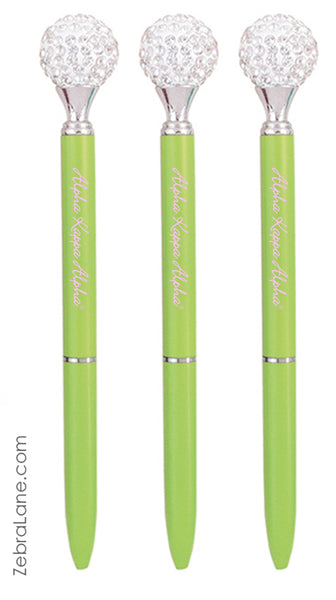 AKA Rhinestone Green Pens-Set of 3