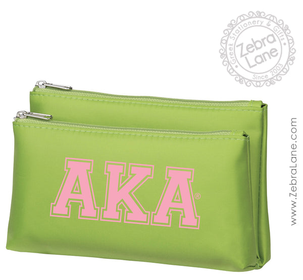 AKA Makeup Bag with Mirror- Green
