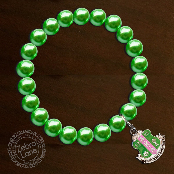 AKA Green Pearl Bracelet - Shield Charm - with satin jewelry bag