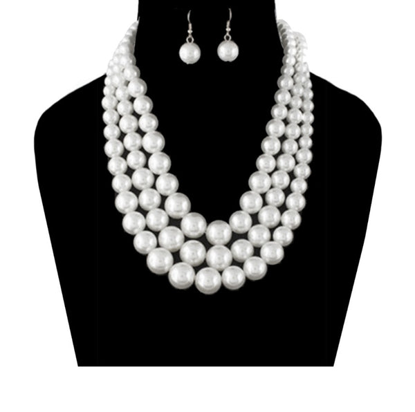 Pearl Necklace - 3 strand wth earrings