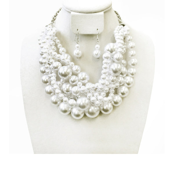 Pearl Necklace - 5 Multi Sized Strands wth Earrings