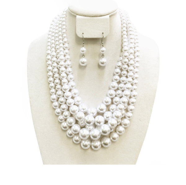 Pearl Necklace - 5 strand wth earrings