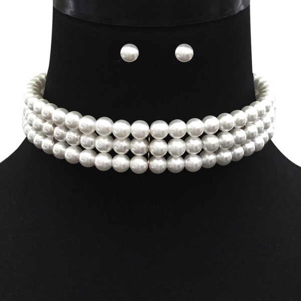 Pearl Choker Necklace - 3 strand with earrings