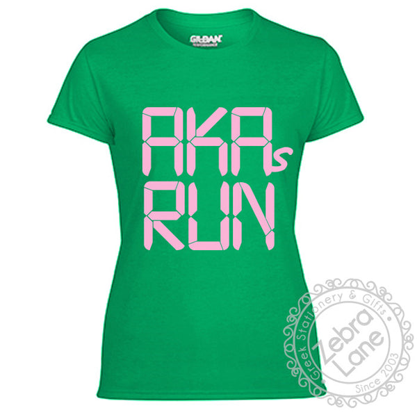 AKAs Run - Green Race Clock T-Shirt - Moisture Wicking