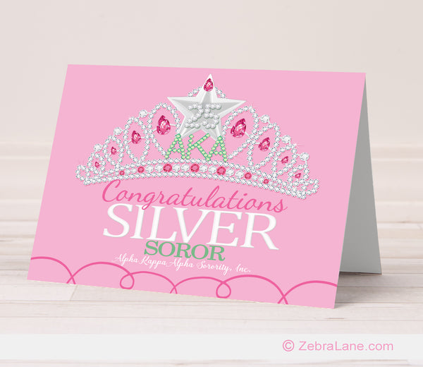 AKA Silver Star Congratulations Cards - Pink