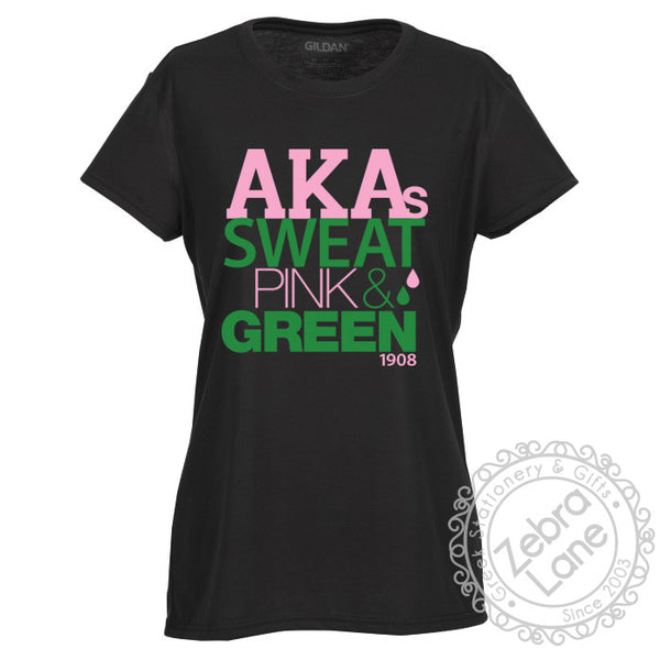 AKAs Sweat Pink and Green T-Shirt - Moisture Wicking
