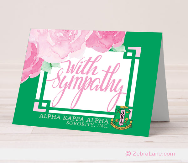 AKA Sympathy Card-Green Border