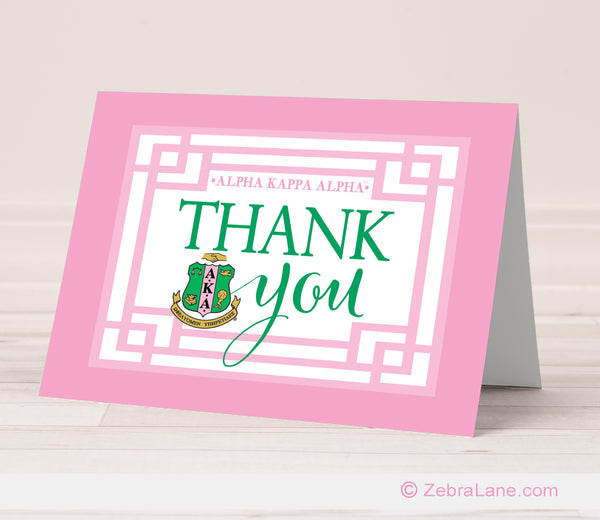 AKA Pretty Pink Thank You Card