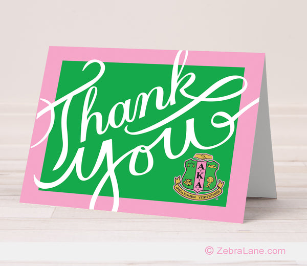 AKA Thank You Card - Green Script