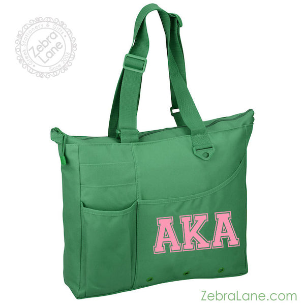 AKA Green Tote with Pockets