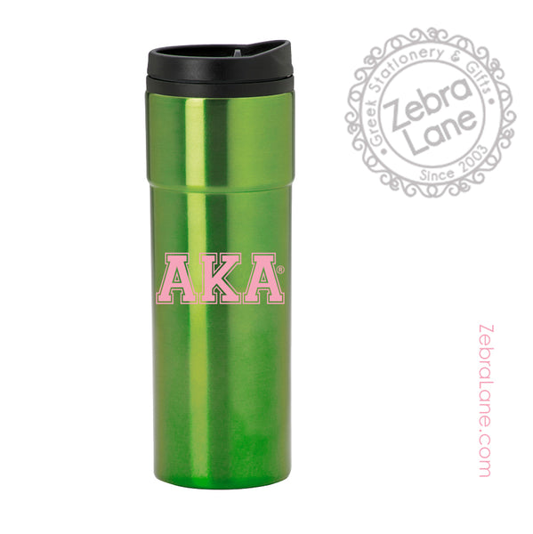Alpha Kappa Alpha Travel Mug Green - Insulated