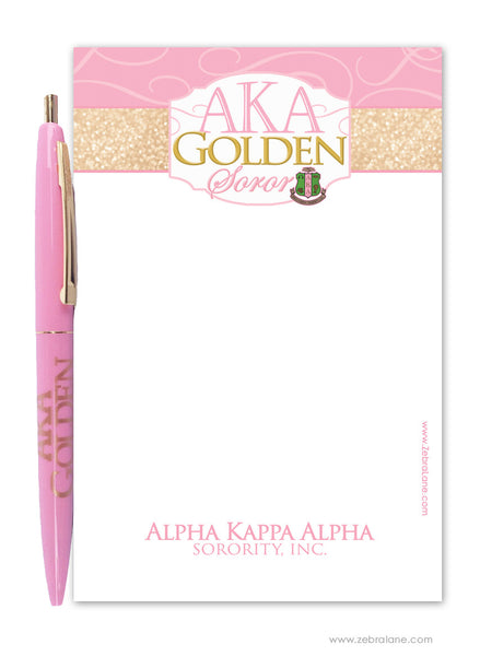 AKA Golden Soror Small 4x6 Pad and Pen Gift Set